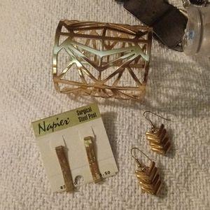 3 pieces bracelet ,vintage earrings